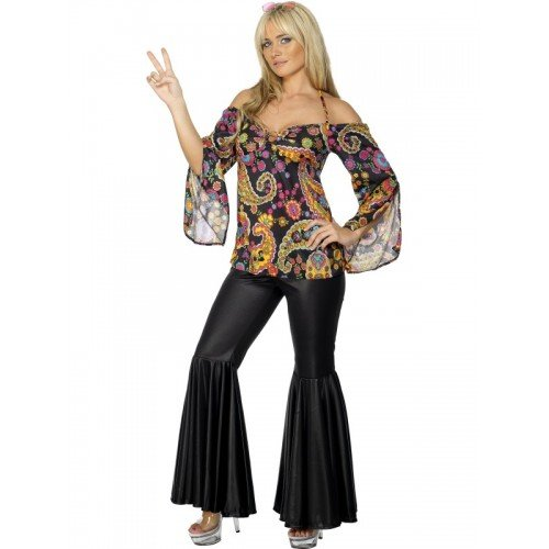 72c457a9ffa Ladies 1960s 1970s Hippie Hippy Flares Decades Hen Do Fancy Dress Costume  Outfit UK 8-