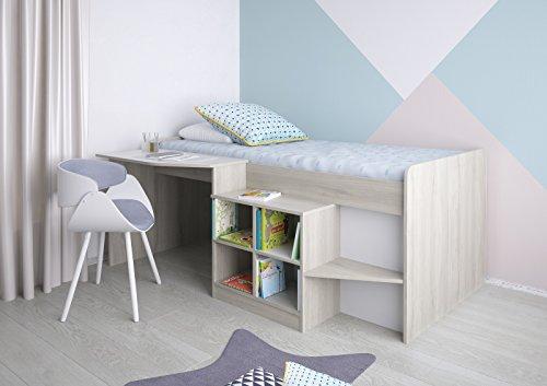 Polini Kids, letto per ragazzi, con scrivania e scaffale in olmo
