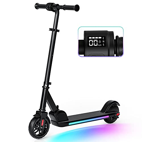 Electric Scooter, Electric Scooter for Kids Age 8+, Colorful Rainbow Lights, LED Display, 3 Level Adjustable Speeds and Heights, Foldable and Lightweight, Black