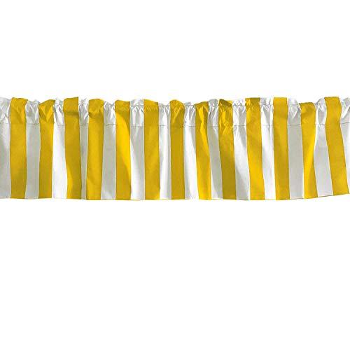 lovemyfabric Cotton Blend 2 Inch Bold Striped Print Kitchen Curtain Valance Window Treatment/Window Decor (58' X14, Yellow)