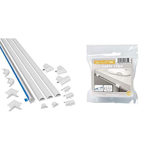 D-Line 3015KIT001 Mini, Selbstklebender, Runder Weißer Kabelkanal, 30x15 mm, 4 x 1 m Länge - 4 Meter Multipack & CTCLIP20PK Selbstklebende Kabelhalter | Selbstklebende Kabelklemmen im 20er Set | Weiß