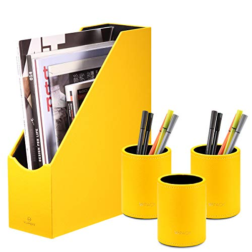 File Folder Storage with 3 Pen Cups, Office Supplies Package Integration Magazine Holder Pencil Case Box, Office Supplies Desk Organizer Accessories (F01-Yellow)