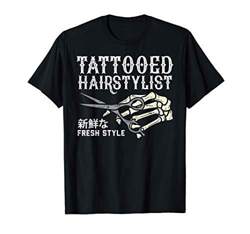 Tattooed Hair Stylist Skeleton Hand Hairdresser Barber Gift Maglietta
