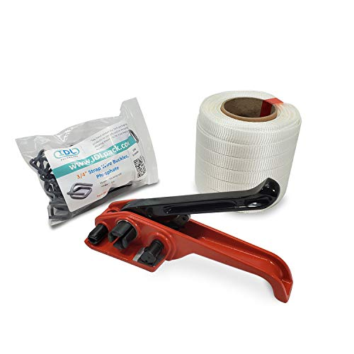 IDL Packaging - B-WCSK.34.250 3/4' x 250' Woven Cord Strapping Kit, 2425 lbs Break Strength. Polyester Cord Strapping Tensioner, Strapping Buckles and Woven Cord Strapping Roll