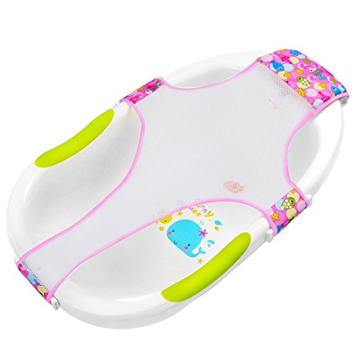 HBselect Badewannensitz Baby antirutsch kreuzförmig Badewanne Unterstützung Badezubehör für Neugeborenen oder Kleinkind (rosa)