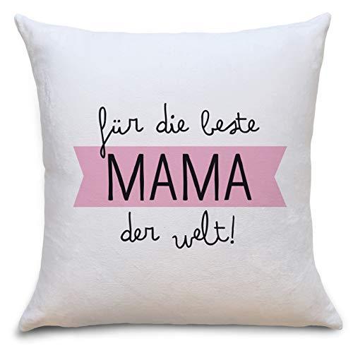 OWLBOOK Beste Mama der Welt Flauschiges Kissen mit Text Geschenke Geschenkideen für Mama zum Geburtstag Weihnachten Zierkissen mit Füllung