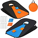 WEKEFON Corn Holes Outdoor Game Set Indoor Portable Cornhole Boards Bean Bag Yard Toss Game, Collapsible Cornhole Set with 8 Bean Bags and Carrying Bag for Kids Adults Family (3'x2')