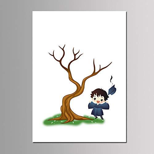 IKAEASD Parteibevorzugung Multi Größe Mädchen Junge Geburtstag Dekor Benutzerdefinierte Fingerabdruck Baum Gästebuch DIY Ungerahmt Gedruckt Leinwand Malerei