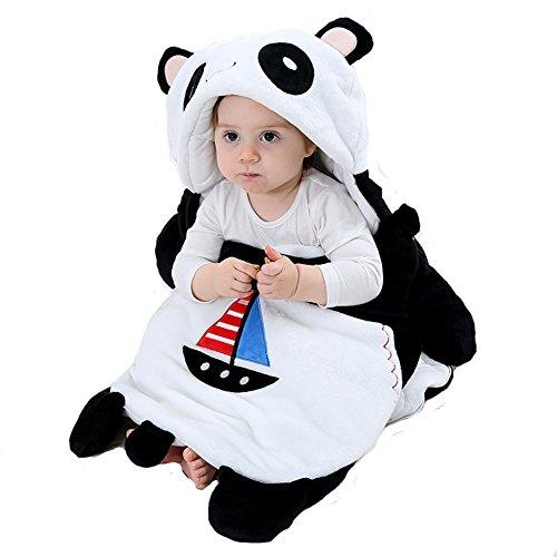 Doladola Cartoon Animal 100% Coton Biologique Sac de Couchage Couverture enveloppante Sacs de Couchage 0-2 Ans (Panda)