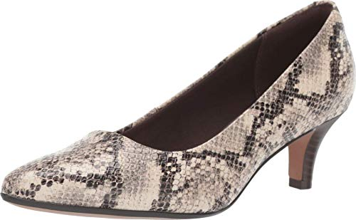 Clarks Women's Linvale Jerica Shoe, Taupe Snake Textile, 90 M US