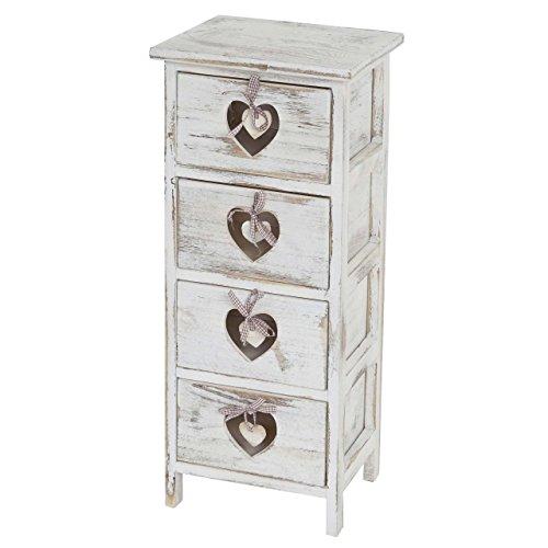 cassettiera 25 cm Serie vintage cassettiera comodino Forli legno di paulonia bianco 25x29x71cm ~ 4 cassetti