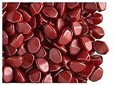 Pinch Bead, 5x3.5mm, 50 piezas, cuentas de vidrio prensadas triédrica checas en la forma de semillas de trigo sarraceno, Alabaster/Pastel Dark Coral (opaque silky red)