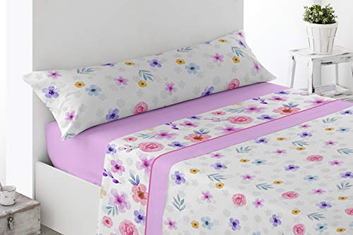 Energy Colors Textil - Hogar - Serie Ottawa - Juego Sábanas 3 Piezas Verano Tacto Super Soft (Rosa Higue, 90_x_200_cm)