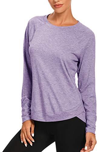 Muzniuer Long Sleeve Workout Tops for Women for Women Long Sleeve Yoga Shirts for Women Yoga Sports Running Shirt Workout Tops for Women Lavender XL