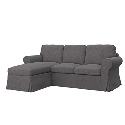 Soferia - Ikea EKTORP Fodera per Divano a 2 posti con Chaise-Longue, Glam Grey