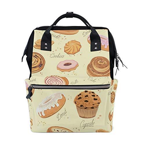 FANTAZIO Mummy Bag Backpack Bread Pattern School Bag