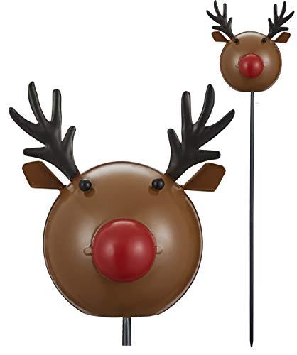 kamelshopping Dekostecker für den Innen & Außenbereich aus Metall mit Wackelfigur, tolle handbemalte Weihnachts- / Winterdeko (Rentier)