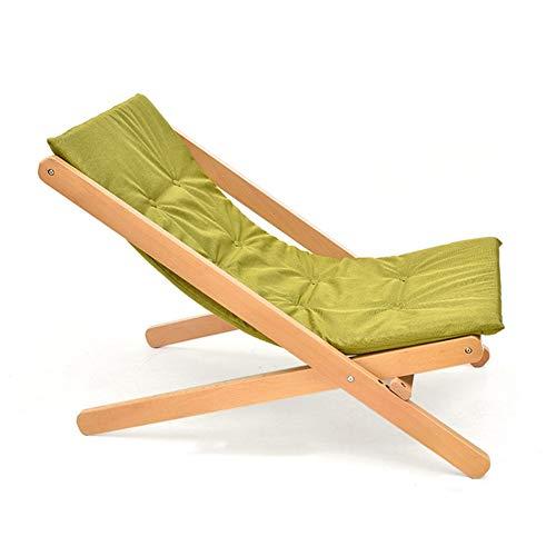 HGDD Tumbona Silla Gravedad Cero Silla Plegable de Madera Maciza sillón reclinable de Dormitorio de Oficina Tumbona Tumbona de Playa (Color : Green)
