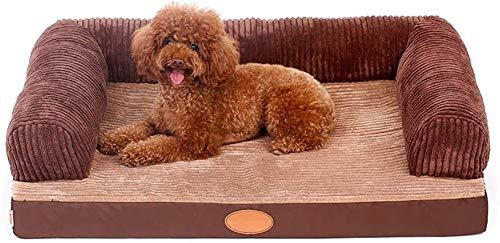UIZSDIUZ Haustierbett Hundebett Brown Memory Foam Orthopädische Perfect & comfortbale Schlafsofa for ältere Hunde Katzenbett (Color : Brown, Size : S(80×60×27cm))