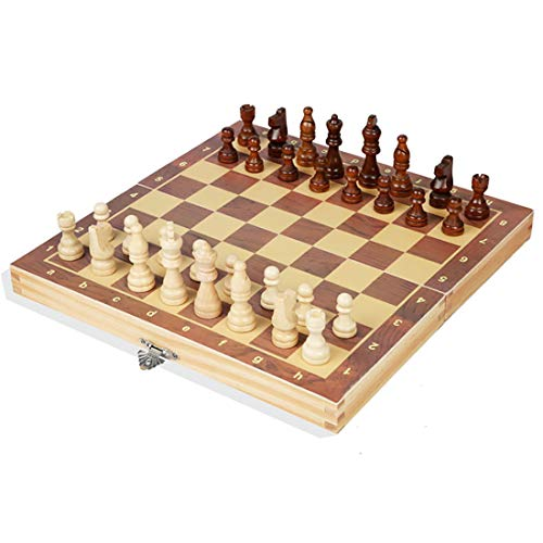 QOUP Wooden chess board game Magnetics chess pieces Foldable portable Children's educational toys chess set 29×29CM