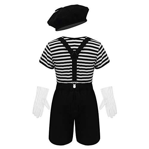 Agoky Disfraz de Mimo para Niña Niño Francés Mime Artist Unisex Traje Fiesta Camiseta a Rayas con Accesorios Cosplay 4Pcs para Halloween Regalos Negro 8 Años