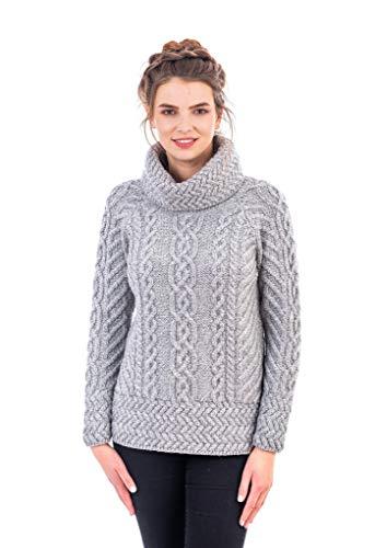 SAOL - Maglione in 100% lana merino Fisherman, da donna, colore grigio/verde