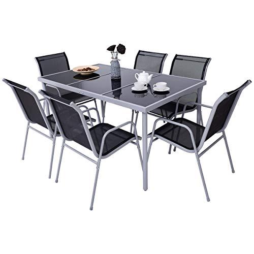 COSTWAY 7-teilige Gartengarnitur, Gartentisch und 6 Stühle, Sitzgruppe mit Metallrahmen, Tischplatte aus gehärtetem Glas, für Garten, Balkon oder Terrasse
