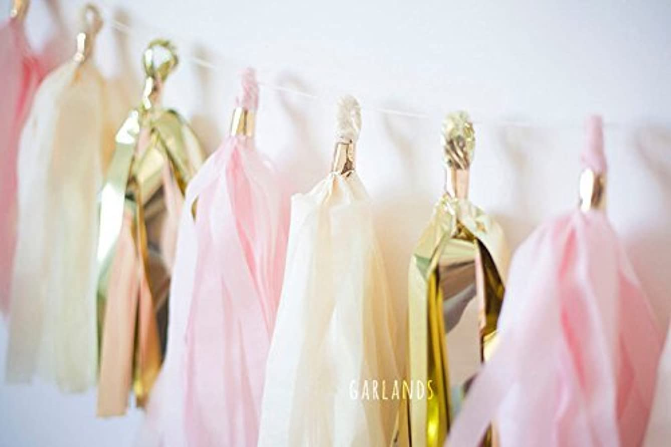 Hand Made Gold Pink White Tissue Paper Tassels for Party Wedding Gold Garland Bunting Pom Pom by Originals Group