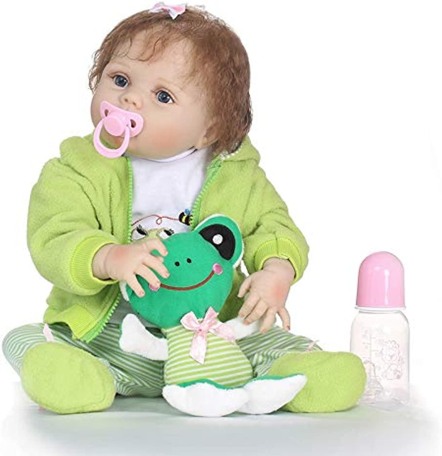 Acestar Reborn Baby Doll Realistic Soft Simulation Silicone Vinyl 22inch 55cm Magnetic Mouth Lifelike Vivid Boy Girl Toy Green Clothes Frog Doll SH55C293