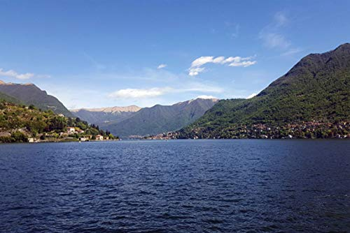 Wall Art Print on Canvas(32x21 inches)- Lake Como Italy Water Lombardy Landscape Lecco
