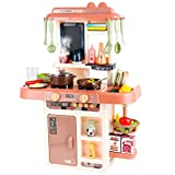 CELETOY Kitchen Playset, 42 PCS Kitchen Toy Set for Toddlers, Mini Kitchen Set with Realistic Lights & Sounds, Simulation of Spray, Toy Kitchen Accessories Set for Toddlers, Girls, Boys