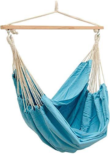 Hängesessel 185x130cm sitzende Hängematte 150kg Indoor Outdoor Hängematte Garten hängende Schaukel grau-Pazifik Blau