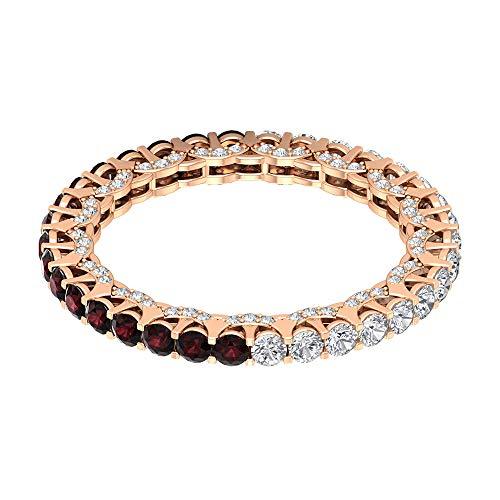 Anillo de novia de granate de 0,85 ct, certificado de 2 mm, anillo de piedras preciosas para mujer, anillo de eternidad de 0,88 quilates, 10K Oro rosa, Size:EU 61