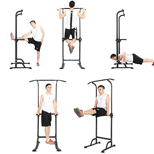 DlandHome Dip Station Adjustable Height Power Tower Pull Up Bars Home Strength Training Fitness Workout Station, PSBB005-DCA