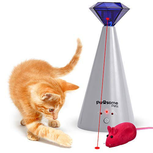PAWSOME PETS Interactive Cat Laser Toy - Less Mayhem, Happier Humans - Keep Fingers Chew-Free with 360 Rotating, 3 Mode Automatic Laser for Cats - 1 Battery Operated Laser Cat Toy