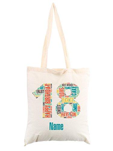 Herz & Heim® Personalisierte Baumwolltasche zum 18. Geburtstag