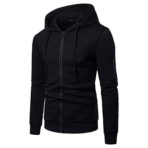 VANVENE Heren Hoodie Sweatshirt Volledige Zip Up Fleece Plaid Jacquard Hooded Jumper Jacket