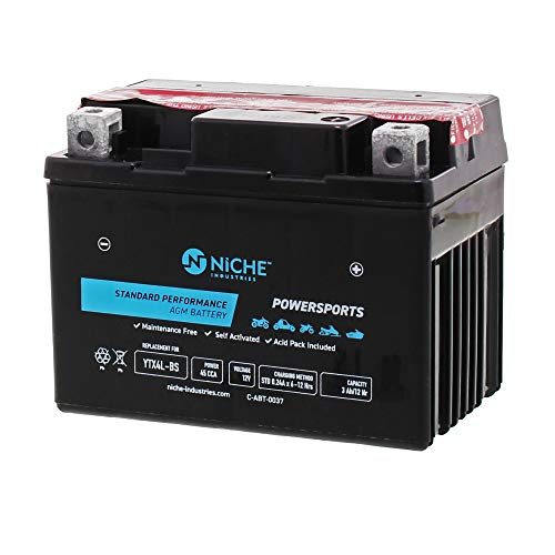 NICHE Battery for YTX4L-BS AGM Sealed Maintenance Free 45CCA 12V Self Activated ATV Motorcycle Scooter Polaris Honda KTM