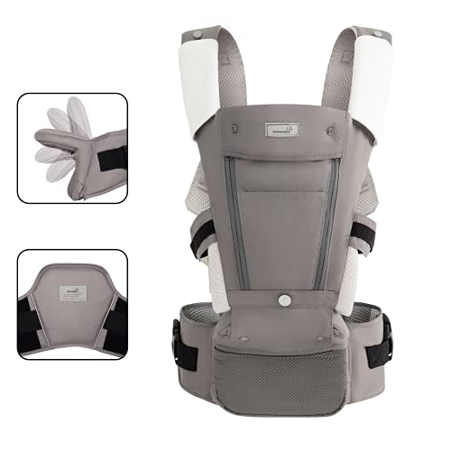 Ergonomic Baby Carrier All Seasons Foldable Hip Seat With Lumbar Support for Newborns to Toddler 7-33 lbs