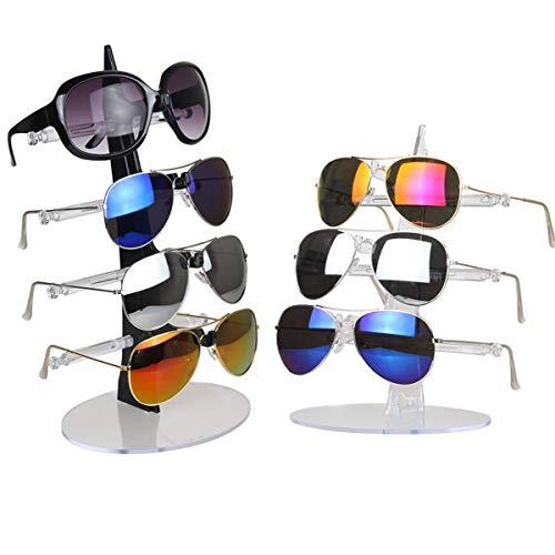 dancepandas Brillenständer 2PCS Acryl Kunststoff Brillenhalter Sonnenbrillen Ständer Für 7 Brillen Brillen Organizer Zur Aufbewahrung und Präsentation (Schwarz und Transparente Farbe)