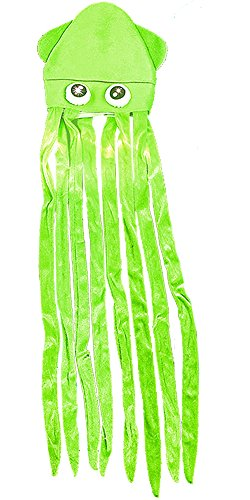 Rhode Island Novelty Giant 56' Green Lite Up Squid with Long Tentacles Party Hat Costume Accessory
