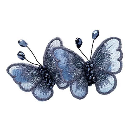 épingles à cheveux papillon à broder imité pinces à cheveux incrusté de pinces à cheveux barrette de cheveux cristal pour les femmes Lady (bleu)