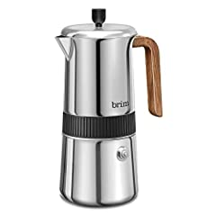 MOKA MAKER: Carefully designed with finely crafted stainless steel and a durable flip-top lid, the Brim 6 Cup Moka Maker delivers up to 6 cups (10 fl. Oz) of rich, authentic espresso in just 4-5 minutes. PERFECT EXTRACTION: Built with a safety releas...