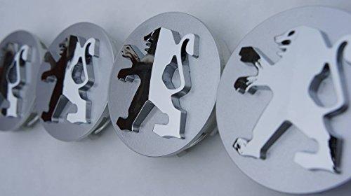 4 tapas para llantas Peugeot, 53 mm x 59 mm