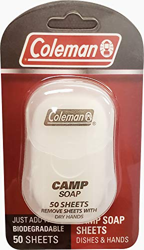 Coleman Camp Soap Sheets for Dishes and Hands, 50 sheets - Mini Travel Soap Sheets