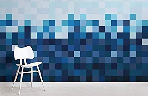 ZZXIAO Blaue Quadrate Pixel Style Ombre Wallpaper Wandbild wandpapier fototapete 3d effekt tapete Wohnzimmer Schlafzimmer Hintergrundbild-200cm×140cm