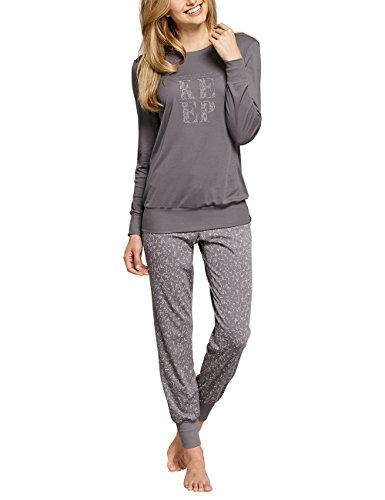 Schiesser Damen Selected Premium Anzug lang Zweiteiliger Schlafanzug, Braun (Nougat 309), 40 (Herstellergröße: 040)