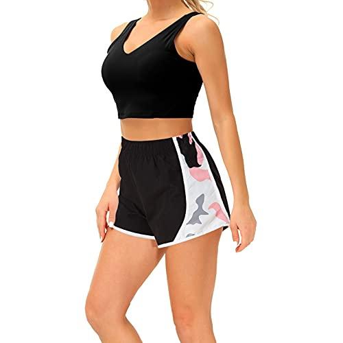 Cozople Women's Swimuit Swimwear Summer UPF 50+ Pink Beach Swim Boards Shorts Cool Camouflage Casual Athletic Running Shorts Solid Flexible Waist Gym Sports Dolphin Shorts Hot Pants