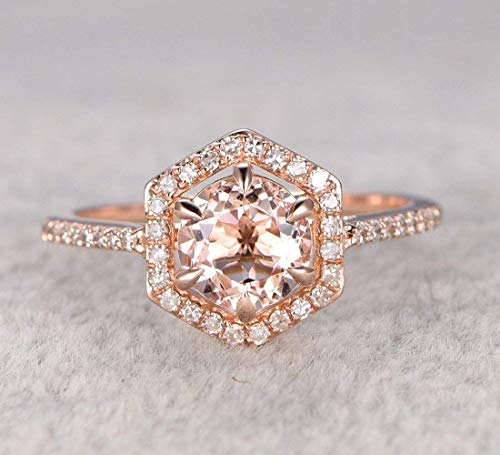 Round Morganite Engagement Ring Pave Diamond Wedding Hexagon Halo 14k Rose Gold 7mm