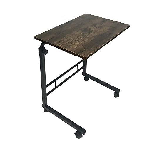 BUBM サイドテーブル キャスター付き 上下昇降 ベッド ソファ 可移動デスク ベッドサイドテーブル 幅60×奥行40×高さ(66-90)cm調整可能 簡単組立 木目調 広い天板 質感良い ヴィンテージ